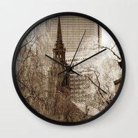 boston Wall Clocks featuring Boston by Raymond Earley