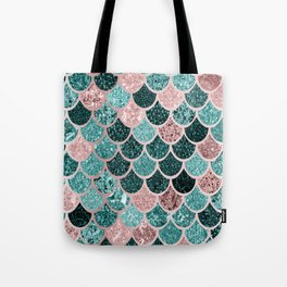 Mermaid Fish Scales, Pink, Rose Gold, Teal, Emerald Green Tote Bag