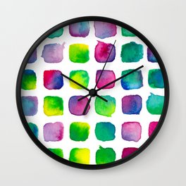 Watercolor Squares Wall Clock