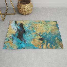 Fluid nature - Golden Sands -  Acrylic Pour Art Rug