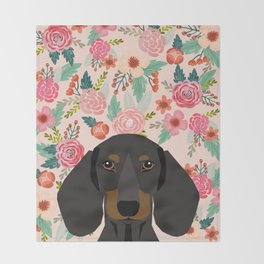 Dachshund florals cute pet gifts black and tan dachshund gifts for dog lover with weener dog Throw Blanket