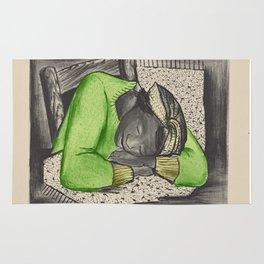 Vintage Folk Art - Sleeping Girl - Rug