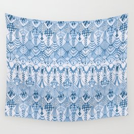 Tribal Owl Feathers in Delft Blue Wall Tapestry
