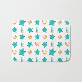 Cute turquoise orange turtle nautical coral reef floral Bath Mat