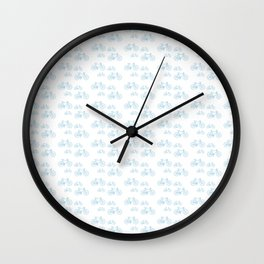 Blue Vintage Road Bike Pattern Wall Clock