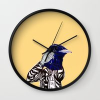 leather Wall Clocks featuring leather bird by Hitch