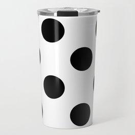 Large Polka Dots - Black on White Travel Mug