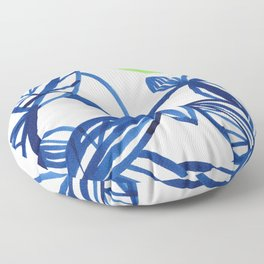 Navy blue and lime green abstract leaves Floor Pillow