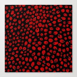 Ladybugs (Red on Black Variant) Canvas Print