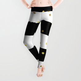 Black and white grunge striped background with Gold confetti Leggings