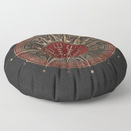Vegvisir - Viking Compass - Black and red Leather and gold Floor Pillow