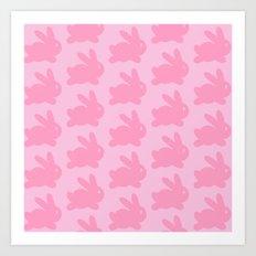 Pink Bunnies Pattern 2 Art Print