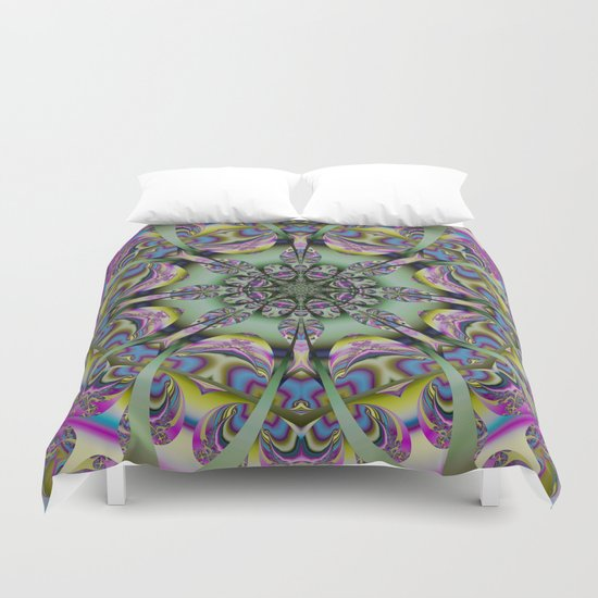 Colourful mandala with decorative shapes and tribal patterns Duvet Cover