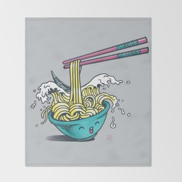 The Great Wave of Noodles with chopstick Throw Blanket