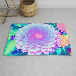 Pretty Purple and Pink Zinnia in the Summer Garden Rug