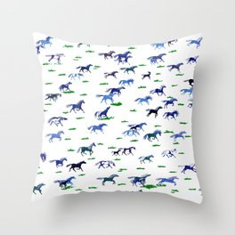 Blue Stampede Throw Pillow