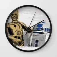 c3po Wall Clocks featuring C3PO & R2D2 by Berta Merlotte