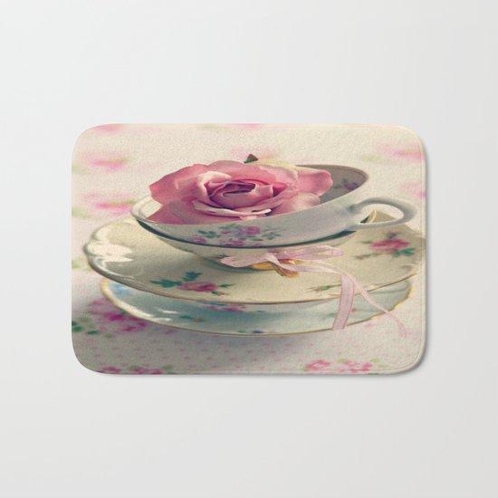 Vintage Tea Cups Bath Mat