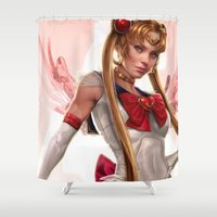 sailor moon Shower Curtains featuring Sailor Moon by KlsteeleArt