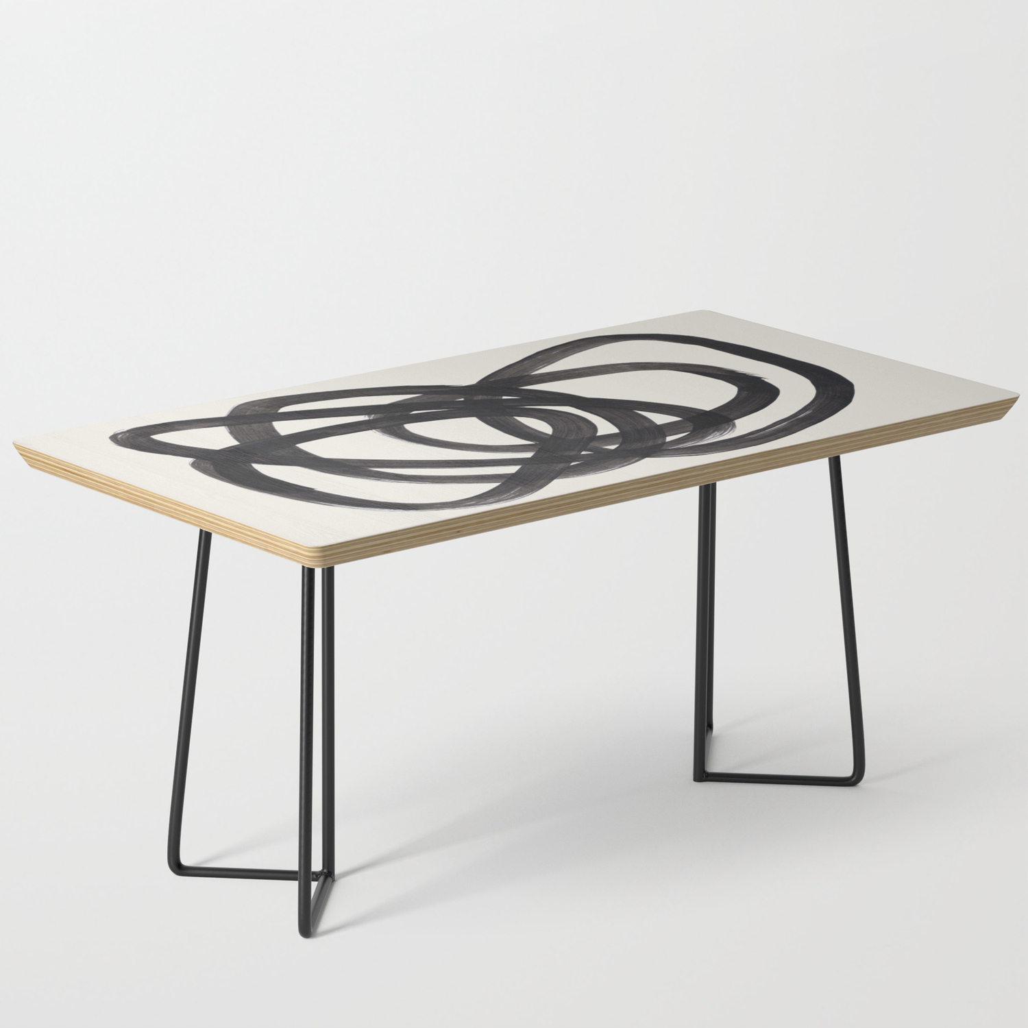 Image of: Mid Century Modern Minimalist Abstract Art Brush Strokes Black White Ink Art Spiral Circles Coffee Table By Enshape Society6