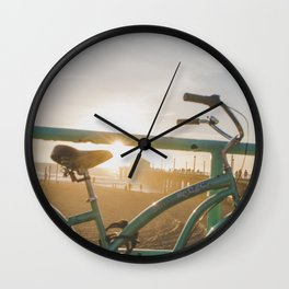 Bike & Beach in Sunny Manhattan Beach, California Wall Clock