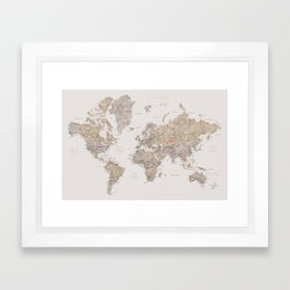 World map with cities in brown and light gray Framed Art Print