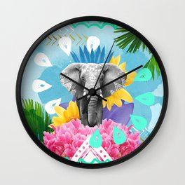 Elephant Festival - Blue Wall Clock
