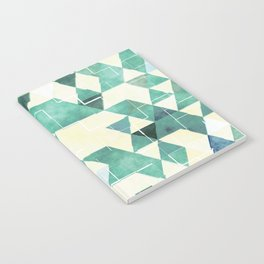 Abstract Green Triangles, Watercolor Pattern Notebook