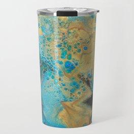 Fluid nature - Golden Sands -  Acrylic Pour Art Travel Mug