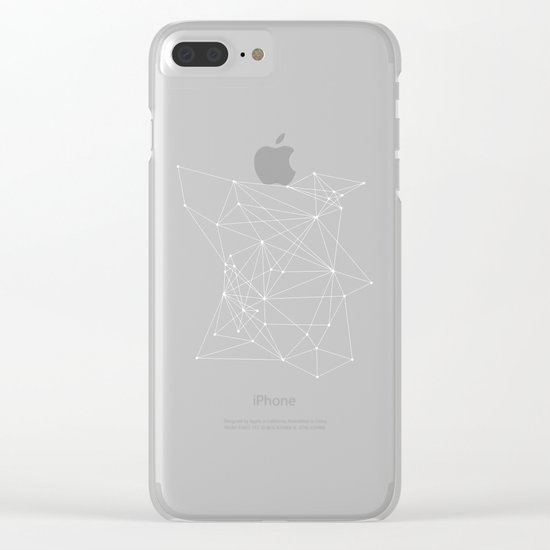 Black Geometric Dots and Lines Clear iPhone Case