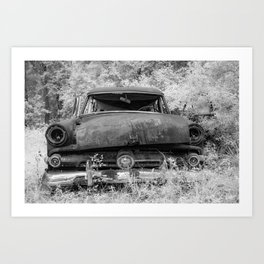 Rusting Station Wagon Infrared Black and White Abandoned Art Print