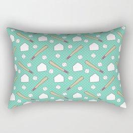 Boy baseball pattern on a teal background Rectangular Pillow