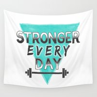 fitness Wall Tapestries featuring Stronger Every Day (barbell) by Lionheart Art