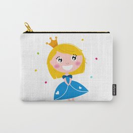 Happy smiling cute blond princess / Blue Carry-All Pouch
