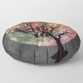 Nature's Cosmically Vigilant Moon Floor Pillow