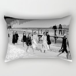 beach looks  karl black and white Rectangular Pillow