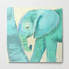Leaning Baby Elephant Metal Print