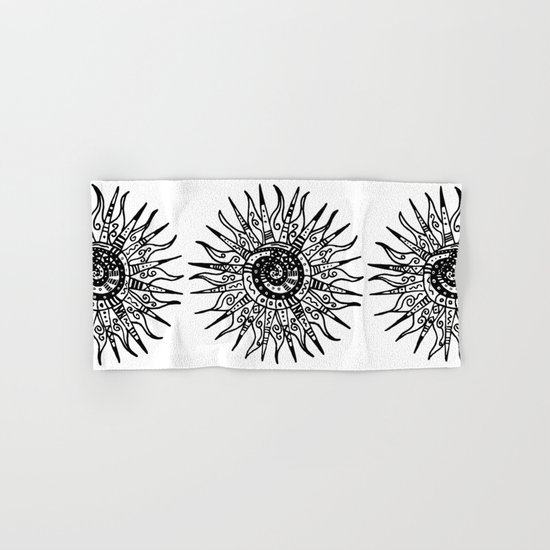 Sun Doodle black and white drawing Hand & Bath Towel