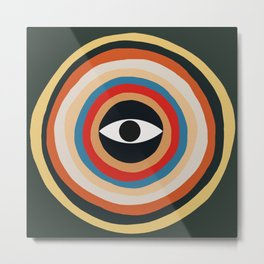 Third Eye Retro Colors Circle Metal Print