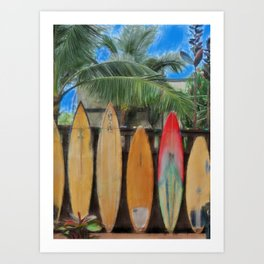 Polynesian Surfboards Art Print