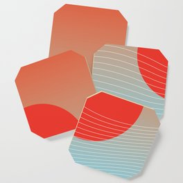 Red sun & white waves Coaster