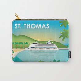 St. Thomas, U.S. Virgin Islands - Skyline Illustration by Loose Petals Carry-All Pouch