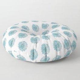 happy blue watercolor flowers Floor Pillow