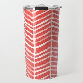Coral Herringbone Travel Mug
