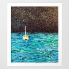 Sailboat Under The Stars Art Print