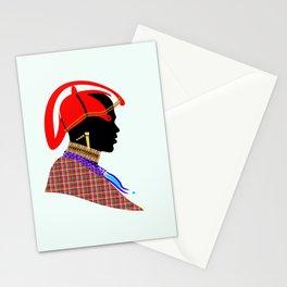 massai warrior kenya africa graphic art Stationery Cards