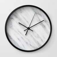 italian Wall Clocks featuring Carrara Italian Marble by cafelab
