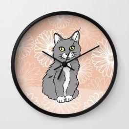 Just Peachy Kitten Wall Clock
