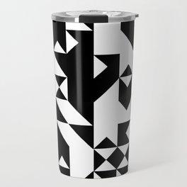 Mark Edz Mono Dogtooth Zebra Mosaic Pixel Pattern Travel Mug