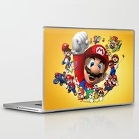 super mario Laptop & iPad Skins featuring super mario  , super mario  games, super mario  blanket, super mario  duvet cover, super mario  show by ira gora